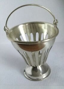 Vintage Dutch Silver 835 Miniature Pierced Pedastal Base Fire Basket Bucket