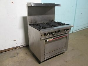 garland Commercial H d Natural Gas 6 Burners Stove W oven S s Shelf