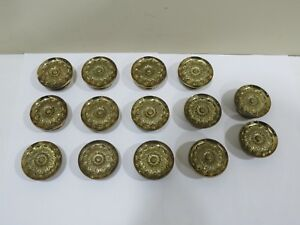Lot Of 14 Vintage Large Heavy Solid Brass Flower Drawer Cabinet Knobs 2 1 8