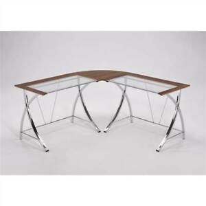 Double Wood And Glass Modern Computer Office Desk id 168267