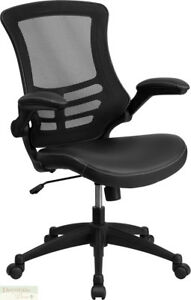 Office Chair Mid back Black Mesh Swivel Seat Leather Padded Flip up Arms New