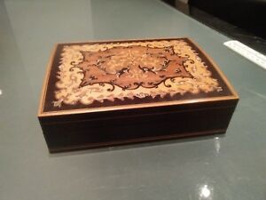 Vintage Italian Wooden Box Trinket Jewellery Playing Cards Painted Sorrento De