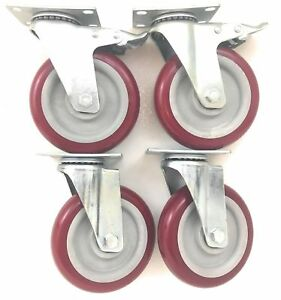 5 Inch set Of 4 With 2 Brake Casters And 2 Swivel Casters Poly Tread New