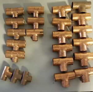 Lot Of 23 Copper Tee Nibco Different Sizes
