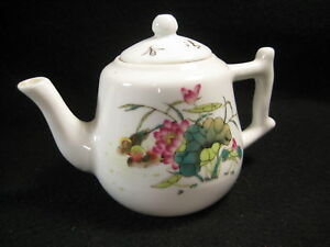 Vintage Signed Chinese Ceramic Teapot Hand Written Poem Water Lily Birds