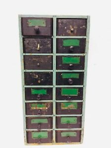 Old Primitive Wood 16 Drawer Cabinet Box Farm Apothecary Tools Green Paint Store