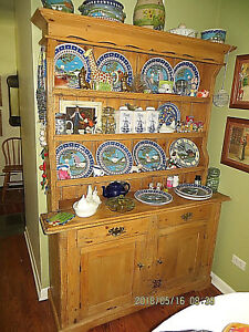 Antique English Cabinet Wormy Wood Natural Finish Kitchen Cupboard Display