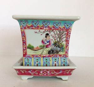 Fine Old Vintage Chinese Famille Rose Porcelain Jardiniere Pot Planter