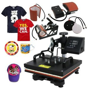5 In 1 Heat Press Machine Transfer Sublimation T shirt Mug Cup Plate Cap Hat