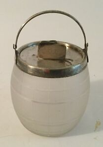 Vintage Silver Plated And Etched Glass Lidded Biscuit Barrel Ice Bucket