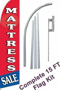 Mattress Sale W Tall Advertising Banner Flag Complete Sign Kit 2 5 Feet Wide