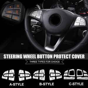 For Mercedes Benz Abs Electroplating Steering Wheel Button Protect Cover Sticker
