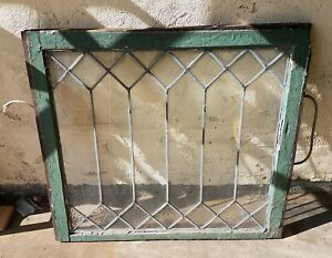 Antique Vintage Architectual Salvage Leaded Glass Geometric Window