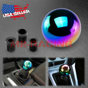 Neo Chrome Weighted Shift Knob Round Ball Shifter M8 M10 M12 Aluminum Manual Mt