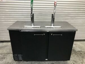 59 2 Door 2 Tap Beer Keg Cooler Kegerator Refrigerator Beverage Air Dd58 9472