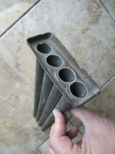 Rare Flat Antique Colonial 4 Tube Tin Candle Mold Handmade C1780 Hearthware