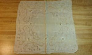 Antique Swiss Appenzell Embroidered Ecru Wedding Handkerchief