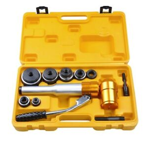 6 Ton Hydraulic Knockout Punch Press With 6 Pcs Tool Kit Portable Plastic Case