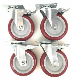 5 Inch set Of 4 With 4 Brake Casters Poly Tread Swiveling Sealed In New