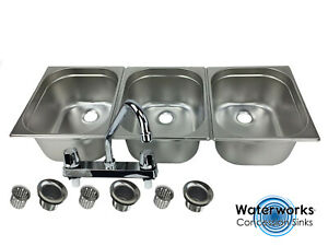 Large 3 Compartment Sink Set For Portable Concession Sinks W faucet