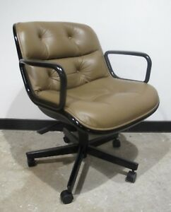 Original Knoll Pollock Tan Leather Arm Chair Office Mid Century Rolling Swivel