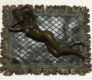 Austria Bronze Nude Women Lying On Carpet By Franz Bergmann