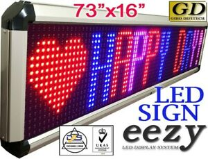 Eezy Led Sign 3colors Outdoor Indoor 73 x16 programmable Message Display Banner