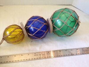 Vintage Japanese Glass Fishing Net Floats Buoy 5 4 3 Very Nice