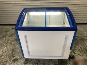 35 Curved Sliding Glass Top Ice Cream Chest Freezer 9476 Retail Food Display