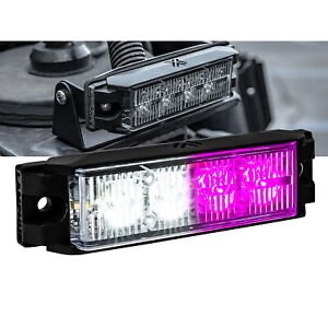 Led Emergency Vehicle Strobe Grille Light Head Police Firefighter Purple White