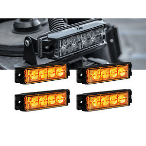 4 4w Led Emergency Vehicle Strobe Grille Light Head Police Firefighter Amber