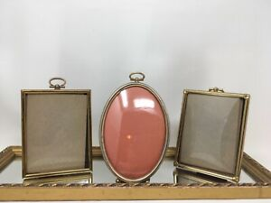 Lot 3 Vintage Convex Bubble Glass Ornate Metal Frames 3 Inches By 4 Inches