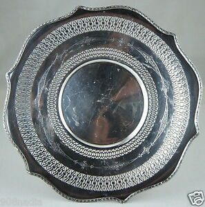 Antique Silver Plate Round Footed Pierced Plate Platter Sheffield