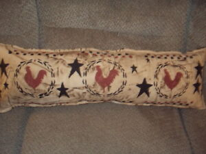Primitive Shabby Farmhouse Stenciled Pillow Rustic Rooster Country Checked Nice