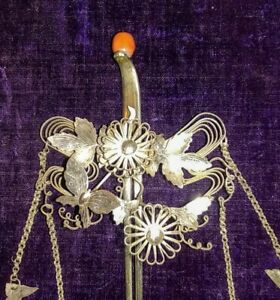 Antique Vintage Kanzashi Japanese Hairpin Silver Detail Very Old Butterfly Coral