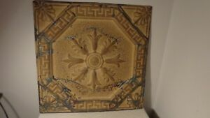 Antique Vintage Tin Ceiling Tile In Gold Tone Nice Condition