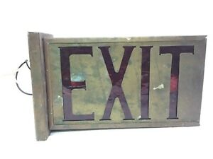 Vintage Brass Exit Light sign Perfeclite Cleveland Ohio New Wiring Ready 4 Use