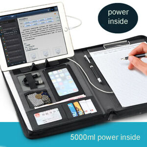 A4 Zipper Leather File Folder Briefcase Document Holder With Cellphone Stand