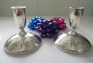 Sterling Silver Vintage Candlesticks Gorham 1335 Starburst Weighted