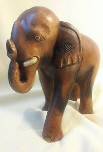 Large Hand Carved Decorative Wooden Elephant Hand Made Thailand