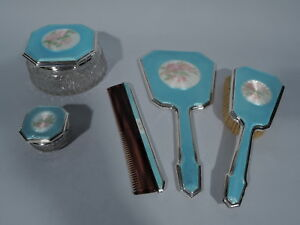 Foster Bailey Vanity Set Brush Comb Mirror American Sterling Silver Enamel