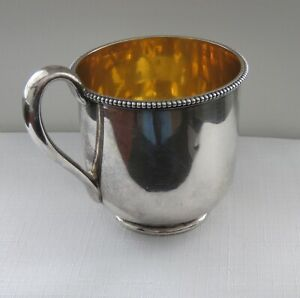 Rare 1850 S Tiffany Coin Silver Gold Washed Baby Cup W Gold Wash Interior