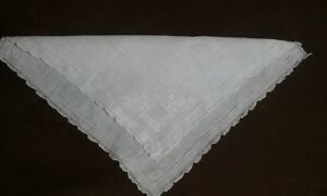 Antique Swiss Appenzell White Wedding Handkerchief Embroidered