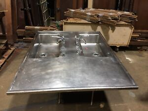 Big Stainless Steel Double Basin Faucet Island Top Science Lab Sink Industrial