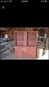 Primitive Stepback Cupboard With Slightly Canted Sides
