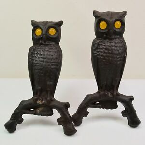 Beautiful Vintage Cast Iron Owl Andirons With Amber Glass Eyes Fireplace Decor