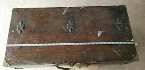 Old Antique Wooden Tool Box Carpenter Wood Chest Primitive Vintage