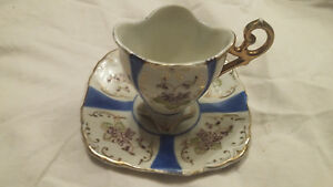 Antique Gold Blue And Floral Tea Cup And Saucer Set