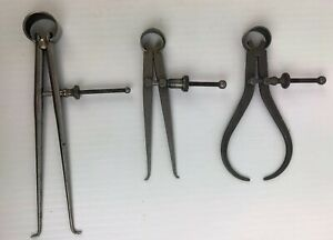 Set Of 3 Starrett Compass Dividers With Round Legs Solid Nut