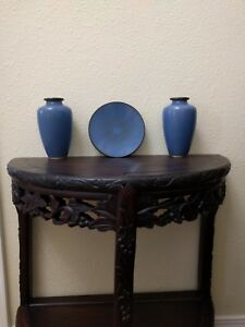 2 Antique Chinese Cloisonne Vases And Plate Set Scale Pattern On Vases
